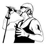 Uomo della roccia con un microfono Fotografia Stock Libera da Diritti