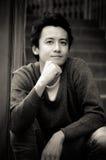 Uomo della Tailandia in bianco e nero. Immagine Stock
