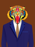 Uomo della tigre con stile geometrico Fotografia Stock Libera da Diritti
