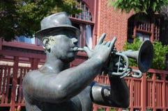 Uomo della tromba della statua Fotografia Stock