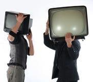 Uomo della TV - concetto della televisione Fotografia Stock Libera da Diritti