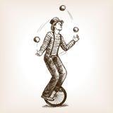 Uomo delle giocoliere sul retro vecchio vettore di schizzo del monociclo Immagini Stock