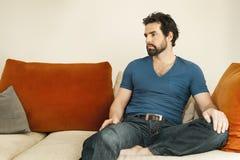 Uomo depresso con la barba Immagini Stock Libere da Diritti