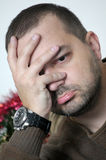 Uomo depresso triste Fotografia Stock