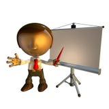 uomo di affari 3d con la strumentazione di presentazione Immagine Stock Libera da Diritti
