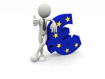 uomo di affari 3d e l'euro simbolo Fotografia Stock Libera da Diritti