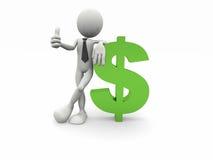 uomo di affari 3d ed il simbolo del dollaro Fotografie Stock Libere da Diritti