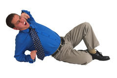 Uomo di affari in #5 blu Fotografia Stock Libera da Diritti