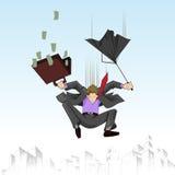 Uomo di affari che cade con l'ombrello Immagini Stock Libere da Diritti