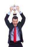 Uomo di affari che celebra successo Fotografia Stock Libera da Diritti
