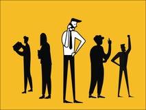 Uomo di affari che comunica sul telefono royalty illustrazione gratis