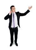 Uomo di affari che comunica sul telefono Fotografie Stock