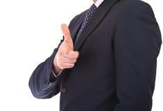 Uomo d'affari che fa gesto di mano della pistola. Fotografie Stock Libere da Diritti