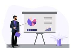 Uomo di affari che fa una presentazione della lavagna con il infographics illustrazione di stock