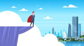 Uomo di affari che indossa capo rosso che sta sul bordo della montagna che esamina l'uomo d'affari moderno Hero della città illustrazione vettoriale