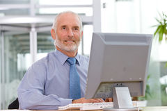 Uomo di affari che lavora al computer portatile Immagine Stock Libera da Diritti