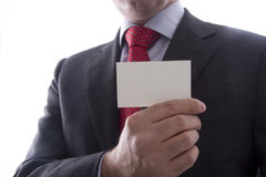 Uomo di affari che mostra biglietto da visita Immagine Stock Libera da Diritti