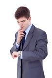 Uomo di affari che osserva allora Immagine Stock Libera da Diritti
