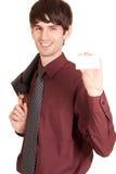 Uomo di affari che passa un biglietto da visita in bianco Immagini Stock Libere da Diritti