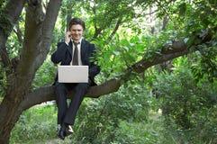 Uomo di affari che per mezzo del computer portatile Immagini Stock Libere da Diritti
