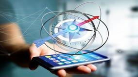 Uomo di affari che per mezzo di una bussola di navigazione su uno smartphone - 3d ren Immagini Stock
