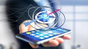 Uomo di affari che per mezzo di una bussola di navigazione su uno smartphone - 3d ren Immagine Stock