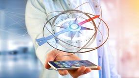 Uomo di affari che per mezzo di una bussola di navigazione su uno smartphone - 3d ren Fotografie Stock