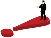 Uomo di affari che si leva in piedi sul contrassegno di esclamazione royalty illustrazione gratis