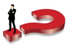 Uomo di affari che si leva in piedi sul grande punto interrogativo rosso illustrazione di stock