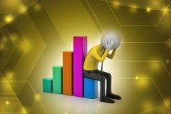 Uomo di affari che si siede il grafico finanziario Immagine Stock