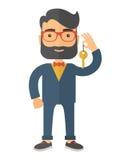 Uomo di affari che tiene una chiave dorata Fotografie Stock