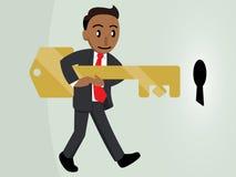Uomo di affari che tiene una chiave gigante Tan Version illustrazione di stock