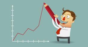 Uomo di affari che traccia il grafico di crescita positiva con la matita rossa sulla parete Fotografia Stock