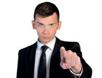Uomo di affari che vi poitning Immagini Stock Libere da Diritti