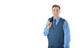 Uomo di affari con con il cappotto che appende sopra la spalla Fotografie Stock Libere da Diritti