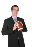 Uomo di affari con gioco del calcio Fotografie Stock