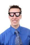 Uomo di affari con i vetri dei raggi X Immagini Stock