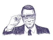 Uomo di affari con i vetri di realtà virtuale Immagini Stock