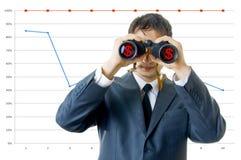 Uomo di affari con il binocolo Fotografie Stock Libere da Diritti