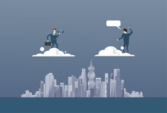 Uomo di affari con il binocolo che esamina concetto futuro del partner di Partner On Cloud dell'uomo d'affari riuscito illustrazione vettoriale