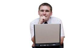 Uomo di affari con il computer portatile immagini stock libere da diritti