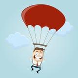Uomo di affari con il paracadute Fotografia Stock Libera da Diritti