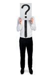 Uomo di affari con il punto interrogativo Fotografia Stock Libera da Diritti
