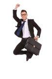 Uomo di affari con il salto della cartella Fotografia Stock Libera da Diritti
