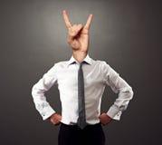 Uomo di affari con il segno di rock-and-roll Fotografia Stock Libera da Diritti