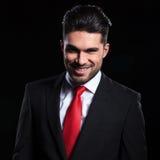 Uomo di affari con il sorriso diabolico Fotografie Stock Libere da Diritti