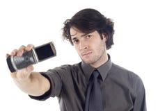 Uomo di affari con il telefono mobile Fotografia Stock