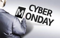Uomo di affari con il testo lunedì cyber in un'immagine di concetto Fotografia Stock Libera da Diritti