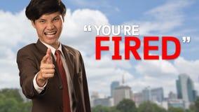 Uomo di affari con il testo siete licenziato Fotografie Stock Libere da Diritti