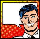 Uomo di affari con la bolla di discorso Immagini Stock